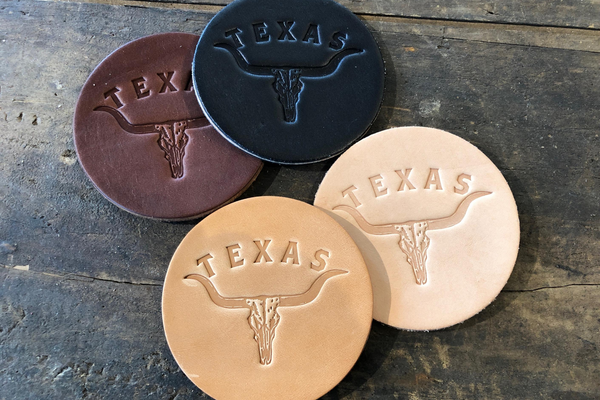 Leather Coaster | Longhorn | Manready Mercantile