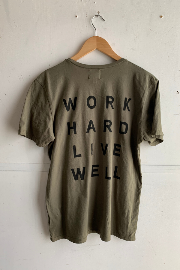 Graphic Pocket Tee | Work Hard Live Well | Green | Manready Mercantile