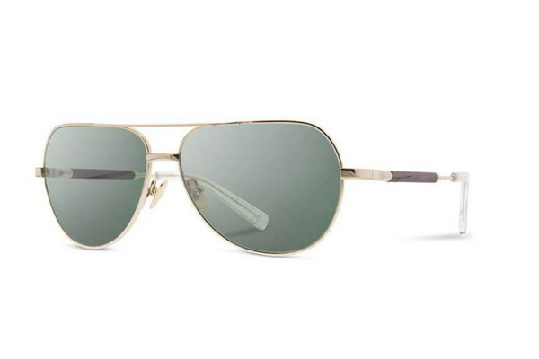 Redmond Metal Sunglasses | Gold Ebony G15 Polarized | Shwood - Manready Mercantile