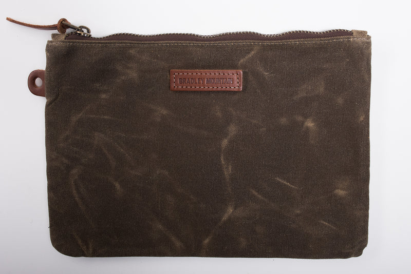 Bradley Mountain Folio Pouch Green Waxed Canvas Accessories Travel Manready Mercantile