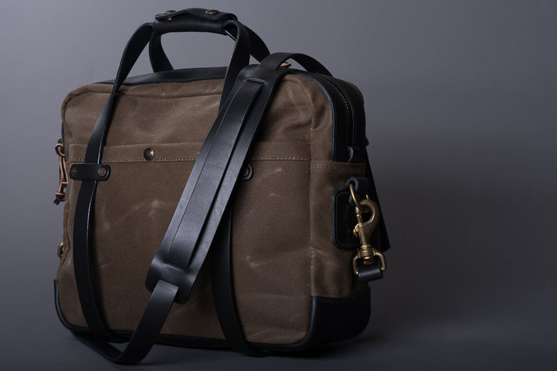 Waxed Canvas Briefcase in Ranger Tan and Black Horween Leather by Vermilyea Pelle