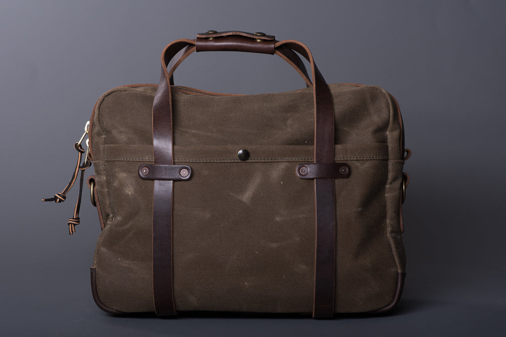 Waxed Canvas Briefcase | Ranger Tan & Brown Chromexcel | Vermilyea Pelle