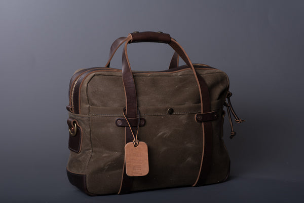 Waxed Canvas Briefcase in Ranger Tan & Brown by Vermilyea Pelle