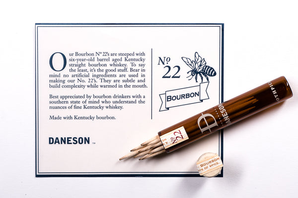 Daneson Whiskey Soaked Flavored Toothpicks available at Manready Mercantile and manready.com