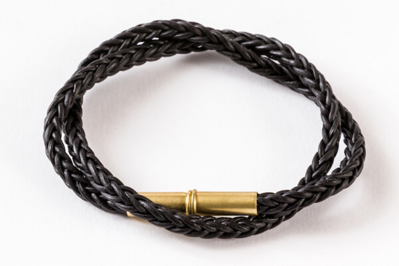 Flint Bracelet | Leather Braided .22 | Black Double Wrap | Tres Cuervos