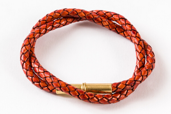 Flint Bracelet | Leather Braided .22 | Saddle Tan Double Wrap | Tres Cuervos