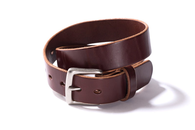 Hand Stitched Leather Belt | Dark Brown + Nickel | Manready Mercantile