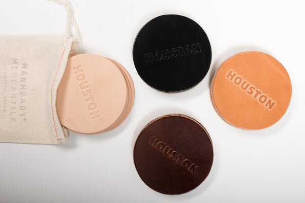 Manready Mercantile Leather Coasters with Houston available exclusively at manready.com