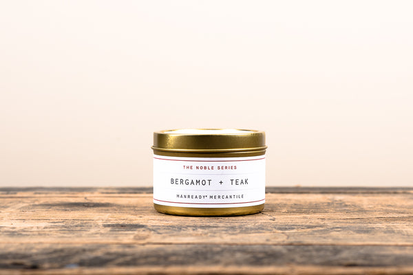 Manready Mercantile Bergamot and Teak Travel Candle Noble Series Soy Wax Fragrance Oils Apothecary