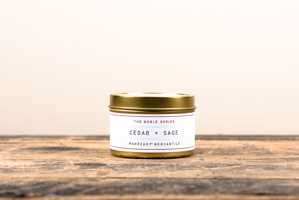 Manready Mercantile Cedar and Sage Travel Candle Noble Series Soy Wax Fragrance Oils Apothecary