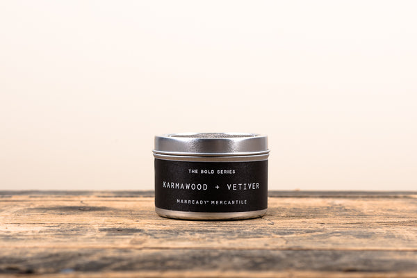 Manready Mercantile Karmawood and Vetiver Travel Candle Bold Series Soy Wax Fragrance Oils Apothecary