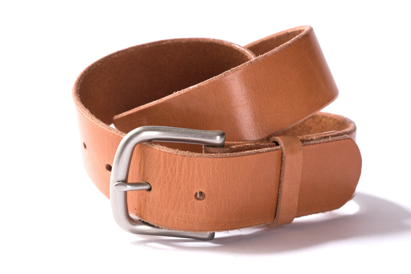 Hand Stitched Leather Belt | Light Brown + Nickel | Manready Mercantile