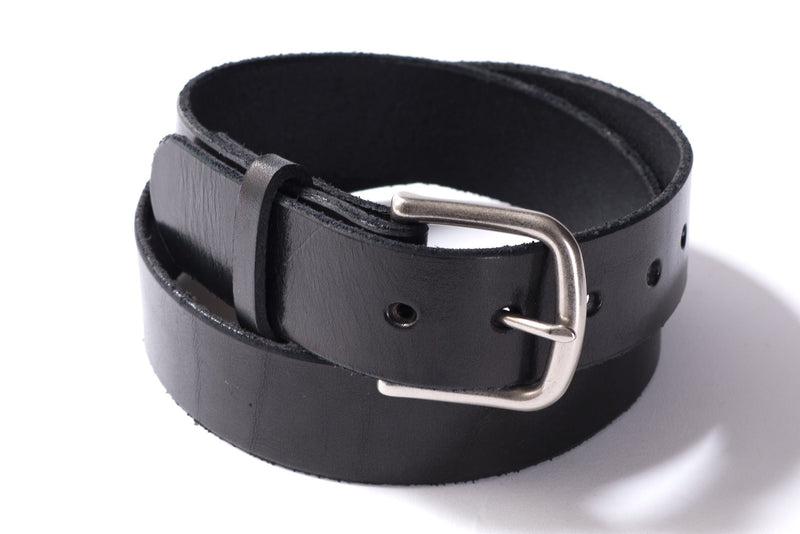 Hand Stitched Leather Belt | Black + Nickel | Manready Mercantile