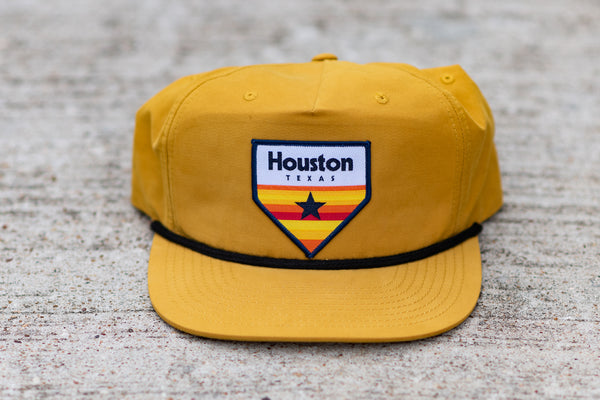 Five Panel Hat in yellow with Retro Homeplate available at Manready Mercantile