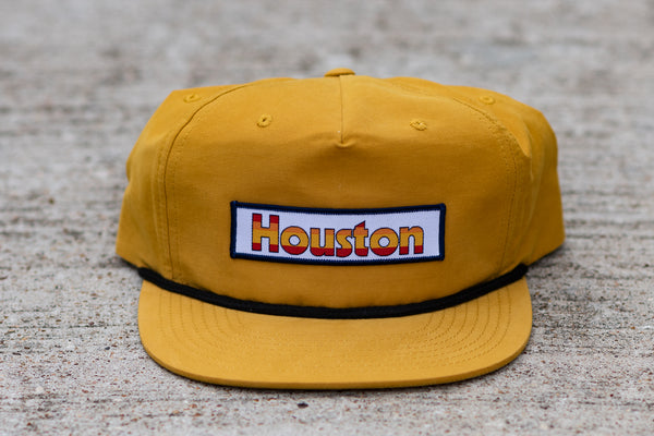 Five Panel Hat in yellow with Retro Houston Patch available at Manready Mercantile