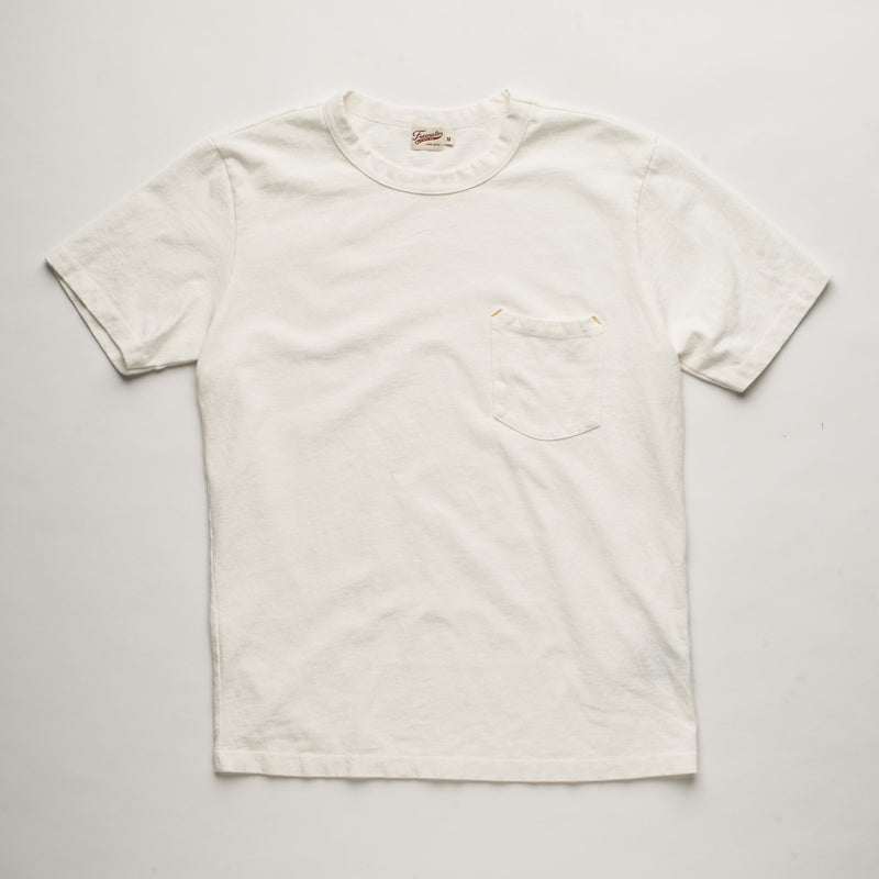 Vintage Wash Pocket Tee | White | Freenote Cloth