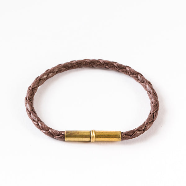 Flint Bracelet | Leather Braided .22 | Brown Single Wrap | Tres Cuervos