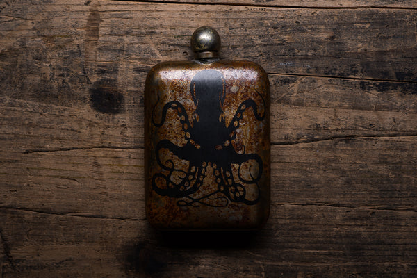 The Sneerwell Sea Monster Noble Flask Stainless Steel Patina Whiskey Adventure Manready Mercantile