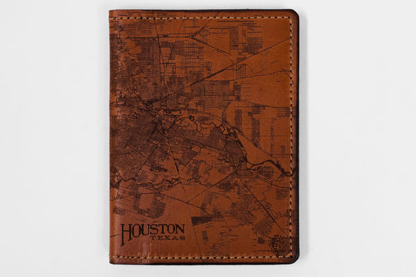 Tactile Craftworks Houston Leather Map Passport Wallet available at Manready Mercantile