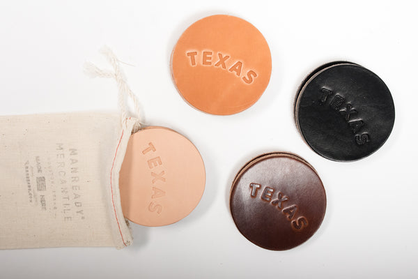 Manready Mercantile Leather Coaster with Texas available at manready.com