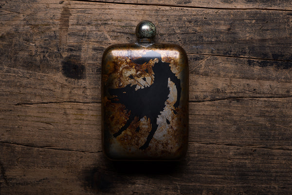The Sneerwell Hell Bound Noble Flask Stainless Steel Patina Whiskey Adventure Manready Mercantile