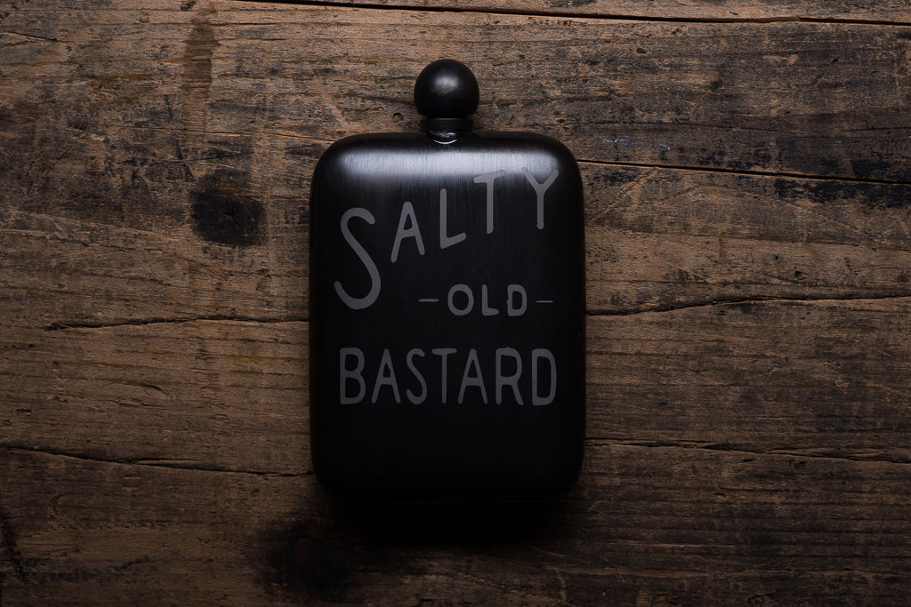 The Sneerwell The Salty Old Bastard Flask Stainless Steel Patina Whiskey Adventure Manready Mercantil
