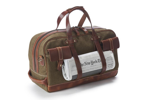 Edinburgh Duffel #140 | Vintage Chestnut + Canvas | Coronado Leather