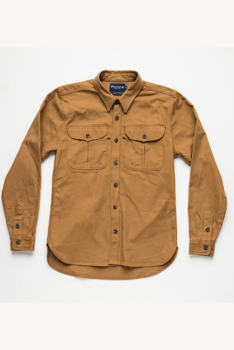 Currant Shirt | Lion Brown Herringbone | Freenote Cloth
