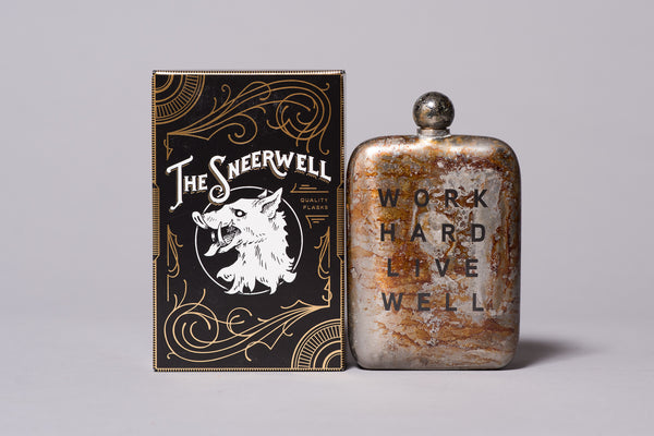 work hard live well flask the sneerwell whiskey manready mercantile