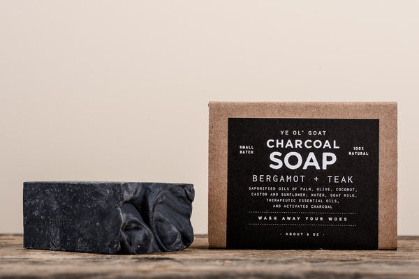 Manready Mercantile Bergamot and Teak Charcoal Goat Soap available at Manready Mercantile and online at manready.com