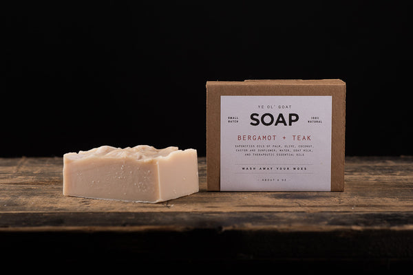 Manready Mercantile Bergamot Teak Goat Soap Made in Houston and available at manredy.com