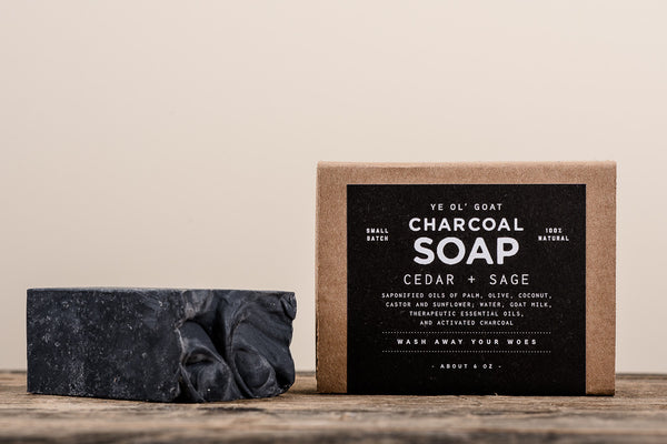 Manready Mercantile Cedar and Sage Charcoal Goat Soap available at Manready Mercantile and online at manready.com