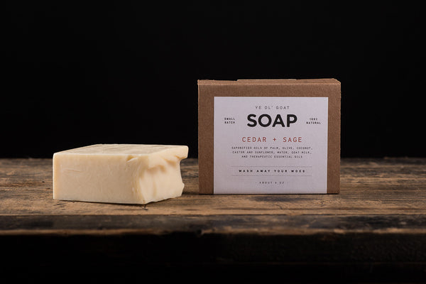 Manready Mercantile Cedar and Sage Goat Soap available at Manready Mercantile and online at manready.com
