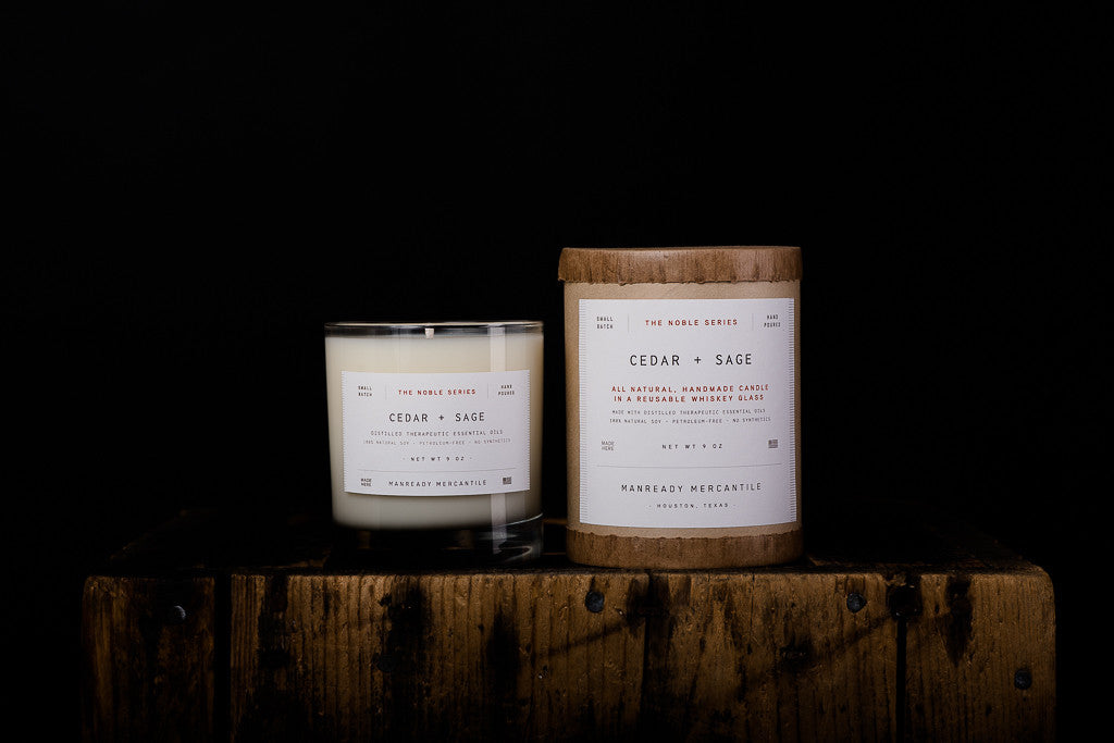 Manready Mercantile Cedar Sage Soy Wax Candle Noble Series Made in Houston