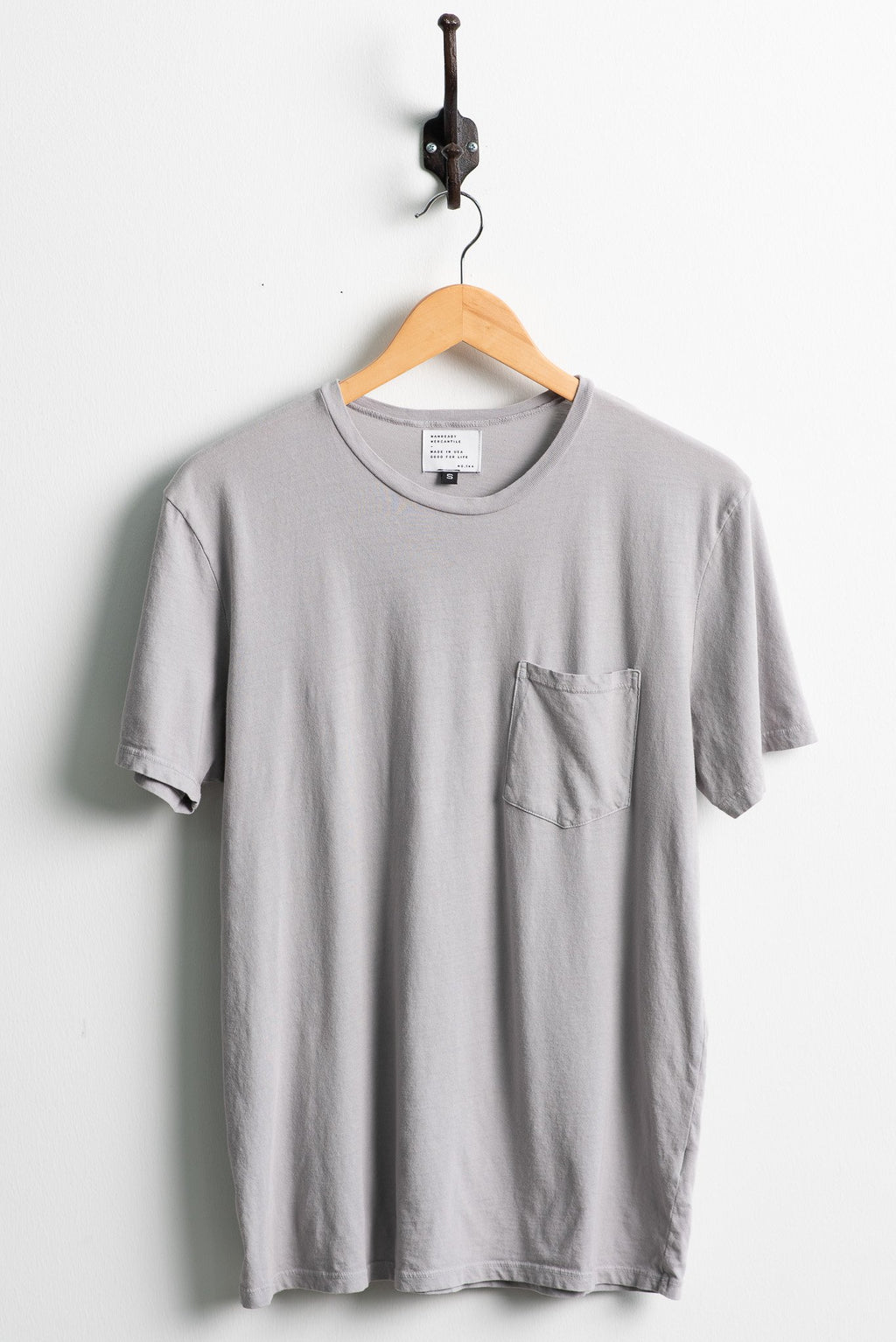 Manready Mercantile Basic Pocket Tee in Washed Grey available at manready.com