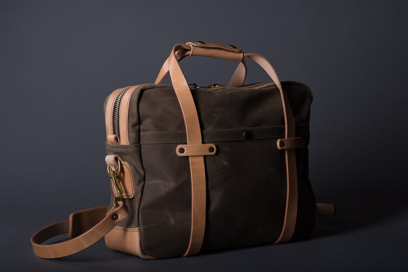 Waxed Canvas Briefcase | Ranger Tan & Russet | Vermilyea Pelle - Manready Mercantile