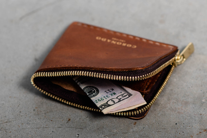 Americana Half Zip Wallet #11 | Chestnut | Coronado Leather