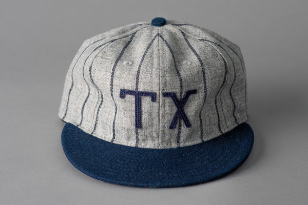 Ebbets Field TX Ballcap in Grey and Navy Pinstripe Wool available at Manready Mercantile and manready.com