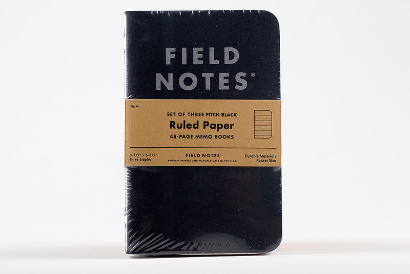 Ruled Pitch Black Three Pack Field Notes Notebook Manready Mercantile