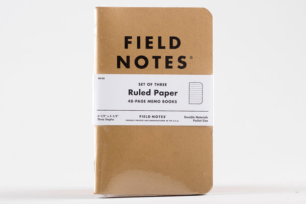 Kraft Ruled Paper Three Pack Field Notes Notebook Manready Mercantile