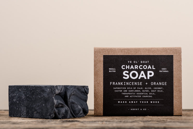 Manready Mercantile Frankincense and Orange Charcoal Goat Soap available at Manready Mercantile and online at manready.com