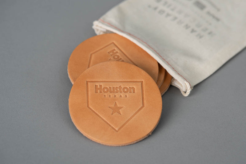 Manready Mercantile Leather Coaster with Houston Home Plate in light brown available at manready.com