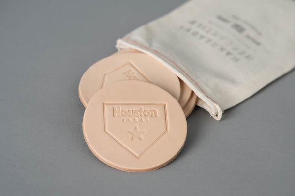 Manready Mercantile Leather Coaster with Houston Home Plate in natural available at manready.com