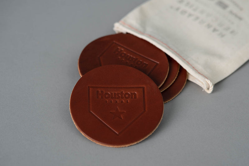 Manready Mercantile Leather Coaster with Houston Home Plate in dark brown available at manready.com
