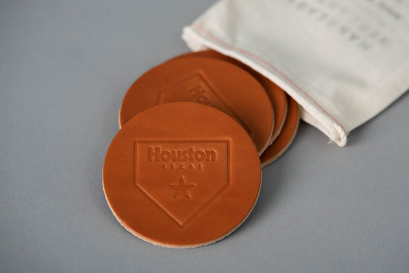 Manready Mercantile Leather Coaster with Houston Home Plate in medium brown available at manready.com