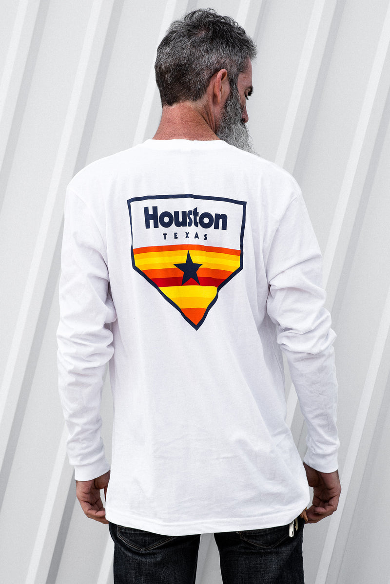 Graphic Tee | LS Houston Astros Home Plate | White | Royal Apparel x Manready Mercantile