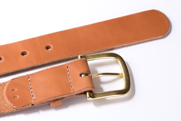 Hand Stitched Leather Belt | Light Brown + Brass | Manready Mercantile