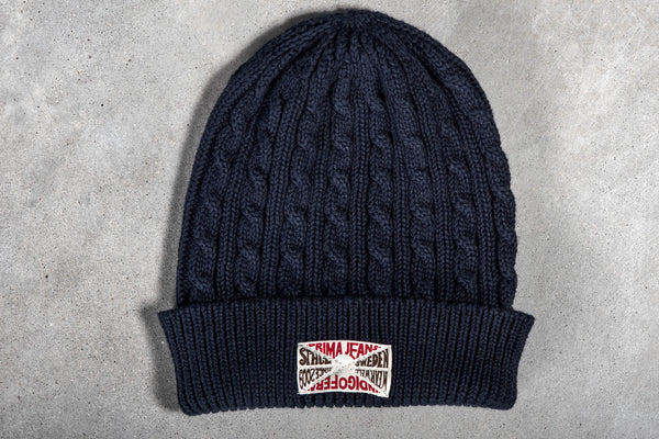 Indigofera Cimino Cable Knit Cap in Navy available at Manready Mercantile and Manready.com