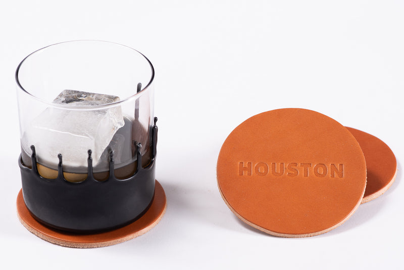 Manready Mercantile Leather Coaster with Houston in medium brown available exclusively at manready.com