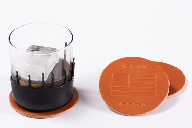 Manready Mercantile Leather Coaster with Work Hard Live Well in medium brown available at manready.com
